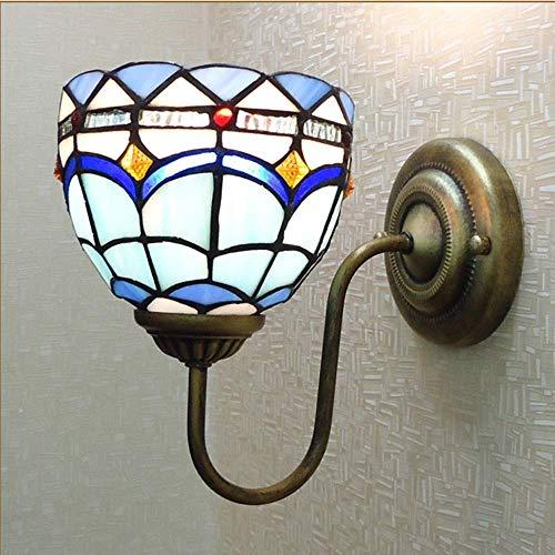 LLLKKK Lámpara de pared estilo Tiffany, lámpara de pared mediterráneo, cristal y hierro forjado, iluminación de 20 cm de largo, 23 cm de alto, salón, dormitorio, estudio, restaurante