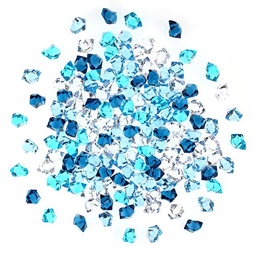DomeStar Premium Blue Fake Ice, 150PCS 2.5Cups Acrylic Ice Rocks Plastic Rocks Acrylic Stones Crushed Ice Cubes Diamonds Gems for Vase Fillers Decoration