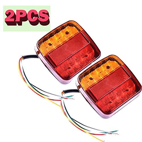 2pcs Feux Arrière de Remorque LED Universel de Frein Direction Clignotants Feux de Plaque 12V Signal Indicateur Bateau Voiture Pour Remorque Caravane Camion Tracteur Van (20LED)