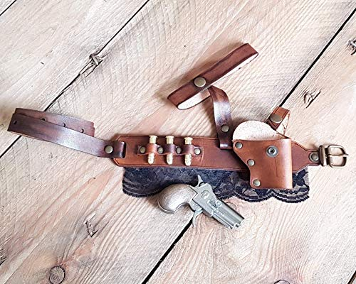 Steampunk Derringer Garter Holster With Derringer pistol, bullets and Lace. Sexy, deadly and comfortable leather complement. (Dark Brown & Black)