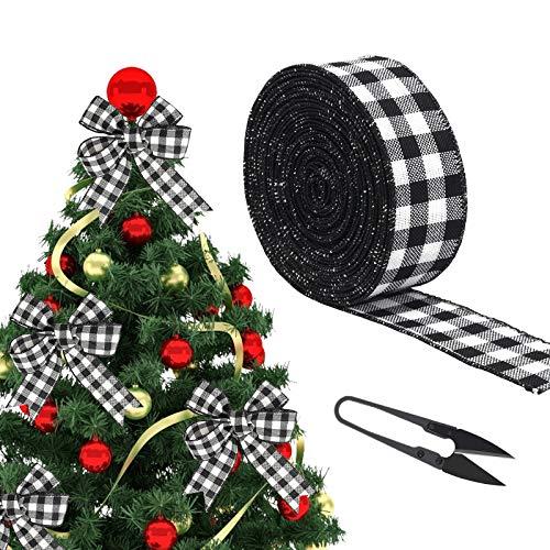 AirSMall Nastro di Tela da imballaggio Natalizio per Decorazione Nastro di Tela a Scacchi Bianchi e Neri con Filo di Natale per Decorazioni Natalizie, Fiocchi Floreali