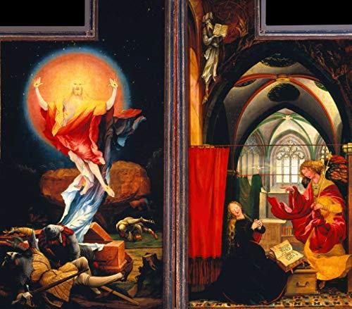Kunstdruck/Poster: Mathis Gothart Grünewald Isenheimer Altar Zweite Schauseite rechte und Linke Tafel Auferstehung und Verkündigung - hochwertiger Druck, Bild, Kunstposter, 45x40 cm
