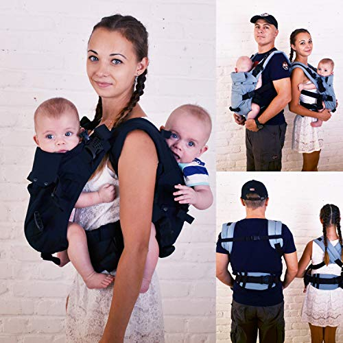 4 in 1 Malishastik Twins Baby Carrier Back Adapt Black