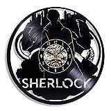 LKJHGU Disco de Vinilo Reloj de Pared diseño Moderno Detective Tema de la película 3D Disco de Vinilo Vintage Reloj de Pared Reloj de Pared Sala de Estar decoración del Dormitorio