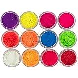 Neon Pigment Eyeshadow for Makeup Black Light Reactive 12 Rainbow Loose Powder Colors Kit 1