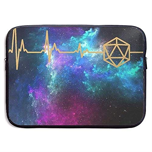 D20 Dice DND Heartbeat - Slaying Dragons in Dungeons 15 Inch Laptop Sleeve Bag - Tablet Clutch Carrying Case