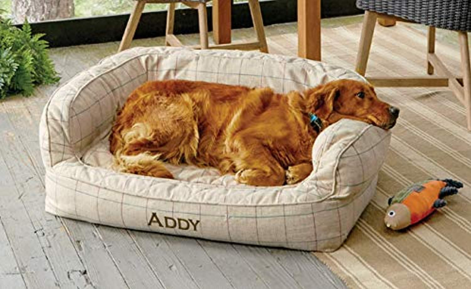 Orvis Memory Foam Couch Dog Bed Small Dogs Up To 18 Kg, Linen Tattersal,