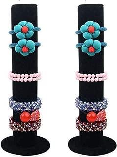 Glitterymall 2 Pack Black Velvet Jewelry Bracelet Watch Display Stand Bar Rack Holder Closet Organizer Tower 1 Tier