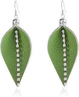 YILIBAO Real/Genuine Teardrop Leather Earrings Lightweight Leaf Petal Drop/Dangle Leather Earring for Women Girls