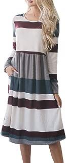 Womens Tunic Dress Casual Striped Loose Long Sleeve Swing Midi Dresses Pockets