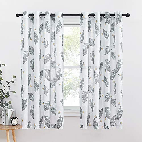 KGORGE Semi-Sheer Curtains for Living Room, Linen Look Floral Leaf Embroidered Curtain Sets Grommet Light Filter Window Treatments Kids Room, 50 x 63 inches, 1Pair, Grey