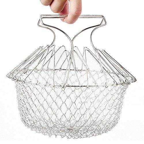 Chefkoch-Korb von Aiqi, faltbarer Gitterkorb zum Dünsten, Waschen, und Abgießen für die Küche