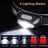 Linterna Frontal LED Recargable, Linterna de Cabeza Alta Potencia Luz Frontal Lampára de Cabeza con 5 Modos para Ciclismo Senderismo Camping Pesca