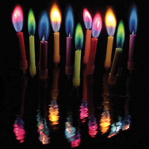 Amazing Colorflame Multicolor Happy Birthday Candles And Holders (12 Count)
