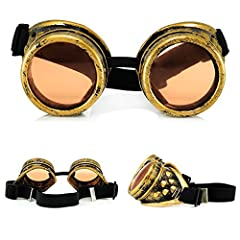 4sold Round Rave Gold Novelty Cosplay Steampunk Goggles UK Ultra Premium Quality Cyber Glasses Glasses Victorian Punk Style Welding Cosplay in a Gothic Style Goth Rustic Rivet Vintage #1