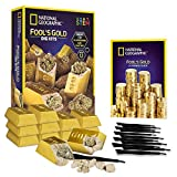 NATIONAL GEOGRAPHIC Fool's Gold Dig Kit – 12 Gold bar Dig Bricks with 2-3 Pyrite Specimens Inside, Party Activity with 12 Excavation Tool Sets, Great Stem Toy for Boys & Girls Or Party Favors