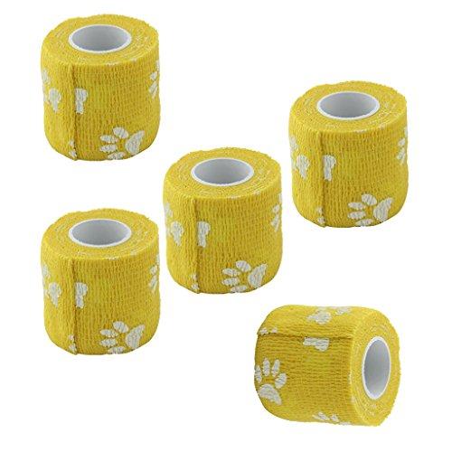 SunniMix 5 Stück Pflasterverband Kohäsive Selbsthaftende Bandagen In Gelb, Elastischer Fixierverband 5cm x 4,5m Für Hunde Katzen oder andere Haustiere, Pflaster Ohne Kleber