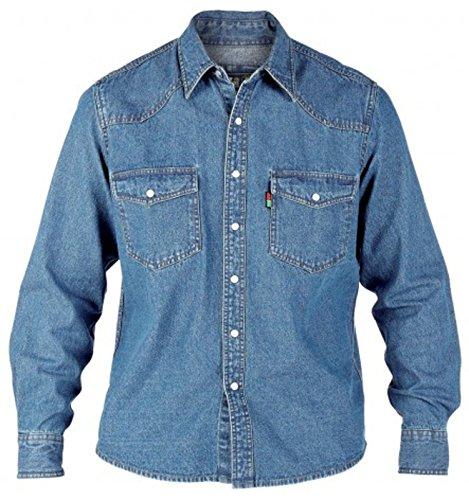 Chemise à manches longues en denim pour homme Duke London King size Effet délavé - bleu - X-Large