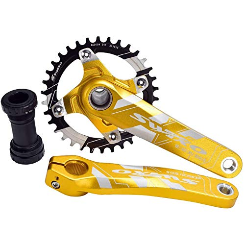 CARACHOME Bike Crank Set, Mountain Bike Crank Set Positive And Negative Gear Aluminum Alloy Chainring Set -Wheelbase 95/98MM for 9~11 Speed MTB,A,36T