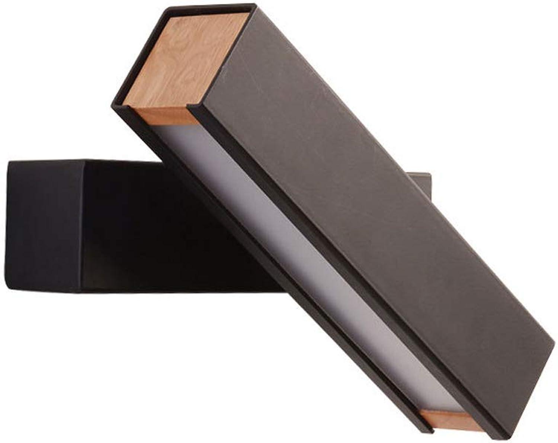 Wandleuchte 6W Schwarz Nordic Modern Minimalistisch Nachttisch Wandleuchte Drehbar LED Schlafzimmer Kreative Beleuchtung Wandlampe Warm Gang Wandleuchte