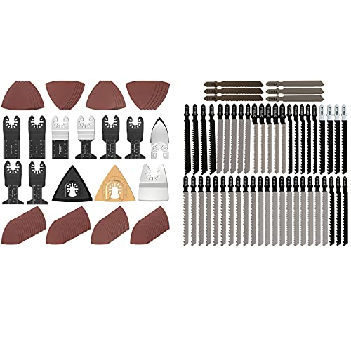 102 Pcs 7 Type Oscillating Saw Blades Kit Include 90Pcs Sandpaper, 52 Pieces 10 Type T-Shank Jigsaw Blade Set for Wood, Plastic Metal Cutting