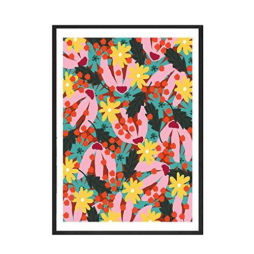 wekeke Moderne mehrfarbige abstrakte Pflanzen Blumen Wandkunst Leinwand Malerei Bild Poster und Drucke Galerie Kinder Küche Home Decor-50X70Cm No Frame