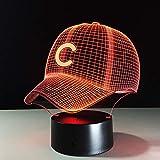 BFMBCHDJ Baseball Team Cap 3D Licht Hiphop Hut Nachtlicht LED Schreibtisch Tischlampe für Kinder Schlafen Licht Für Sport Fan Beste Geschenk