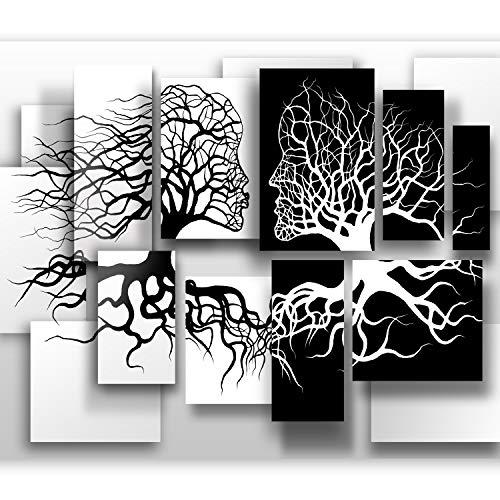 murando Fototapete Schwarz Weiß 400x280 cm Vlies Tapeten Wandtapete XXL Moderne Wanddeko Design Wand Dekoration Wohnzimmer Schlafzimmer Büro Flur Abstrakt 3D Baum Love h-A-0089-a-a