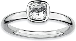 Sterling Silver Stackable Expressions Cushion Cut White Topaz Ring