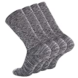+MD Mens Bamboo Extra Full Cushion Heavy Duty Work Boot Socks Moisture Wicking Running Hiking Athletic Crew Socks 4 Pack 4Black13-15