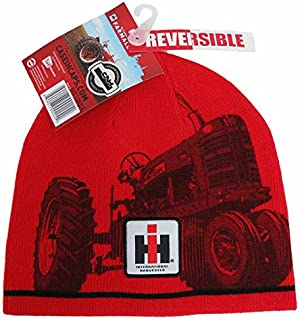 Reversible Black and Red Knit Beanie Hat
