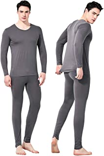 Feelvery Men's Natural Ultra-Soft Premium Tencel Silk Long Johns Thermal Underwear Set