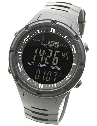 [ラドウェザー] フィッシングウォッチ デジタル腕時計 釣れる時間帯をお知らせする フィッシングアラーム 天気予測/高度計/気圧計/温度計(ブラック反転液晶)