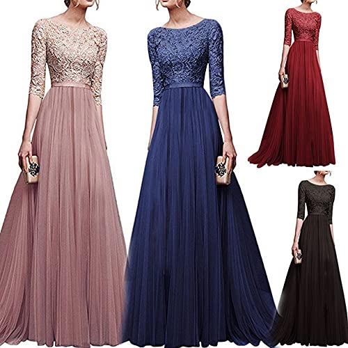 TMOYJPX Vestidos de Fiesta Largos de Noche Gasa Costura Encaje, Vestido Mujer Comunion Elegantes Boda Ropa de Mujer Coctel (Rosa Claro, S)