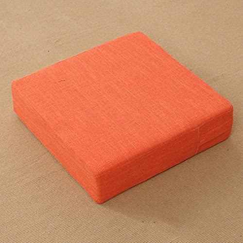 XHNXHN Almohada cuadrada para el suelo, cojín de asiento japonés Tatami sofá perezoso algodón y lino color sólido con cremallera, futón para beber té H 50 x 50 x 10 cm