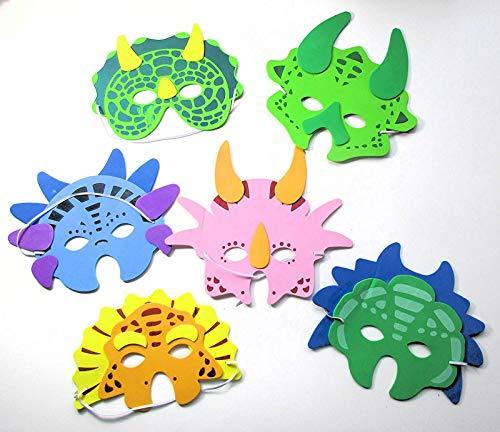 6 Masken * Dinosaurier * für Kindergeburtstag oder Motto-Party // Schaumstoff Maks Party Deko Dekoration Kinder Geburtstag Birthday Dino Triceratops T-Rex