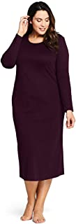 Lands' End Women's Plus Size Supima Cotton Long Sleeve Midcalf Nightgown