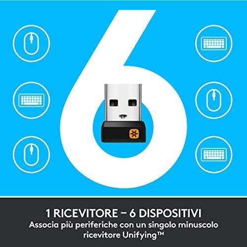 Logitech M235 Mouse Wireless, 2.4 GHz con Ricevitore USB Unifying, Rilevamento Ottico 1 000 DPI, Lunga Durata Batteria Fino a 12 Mesi, PC/Mac/Laptop, Nero/Grigio