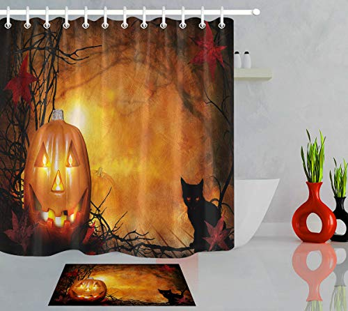 GoEoo Halloween Pumpkin Glow Candle Black cat Pattern Room Home no Smell Easy to Clean Non-Slip Carpet Suitable for Bathroom Hotel Shower Curtain Set