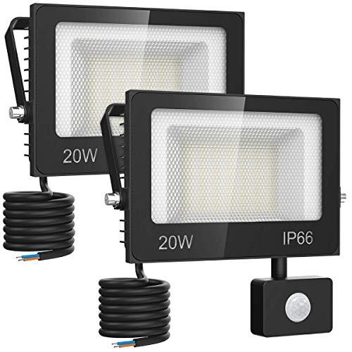 Olafus 2 Pack 20W Focos LED Exterior con Sensor de Movimiento 2000LM Blanco Cálido 2700K, Proyectore Foco LED con Detector, Impermeable IP66, Iluminación Exterior de Seguridad para Jardín Patio Garaje