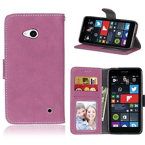 Microsoft Lumia 640 Hülle, SATURCASE Retro Mattiert PU Leder Flip Magnetverschluss Brieftasche Standfunktion Schützend Tasche Schutzhülle Handycover für Nokia/Microsoft Lumia 640 LTE (Rose)