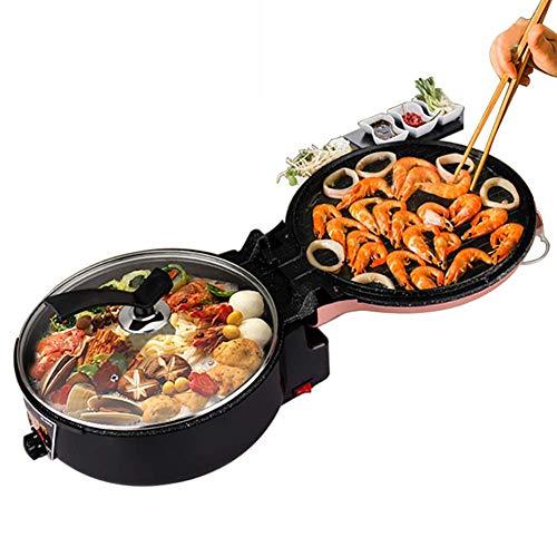 Grillmultifunktions-Elektro-Grill Pizza-Backen-Wannen Steak Barbecue Grill brät Doppel-Platte Heizung Hotpot Herd Skillet DYWFN