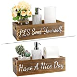 Luxspire Bathroom Decor Box, 1 Pack Farmhouse Wooden Toilet Paper Tissue Holder Storage Tray with Handle, Funny Sayings Have a Nice Day, Toilet Tank Topper Organizer, Rustic Signs Decorer - Brown