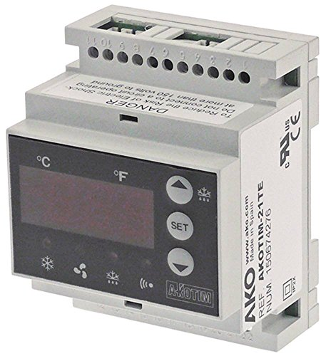 AKO AKOTIM-21TE - Regulador electrónico (230 V CA, para NTC -50 hasta +99 °C, pantalla 31ï 2 dígitos, fijación carril DIN, dimensiones de montaje 90 x 70 x 58 mm)