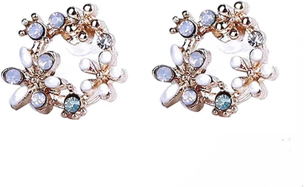 Cngstar 1 Pairs Earrings Women's Garland Shape Stud Earrings Stylish Flower Earrings