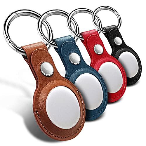 Leather Case for Apple AirTag Tracker, 4 Pack AirTags Case with Anti-Lost Keychain, Protective AirTag Keychain Holder Cases Cover, Finder Items for Dogs Keys Backpacks, 4Pack Multi-color