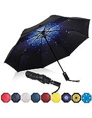 Amazon Brand - Eono Paraguas Plegable Automático Impermeable, Paraguas de Viaje a Prueba de Viento, Folding Umbrella, Recubrimiento de Teflón&Dosel Reforzado, Mango Ergonómico - Galaxia