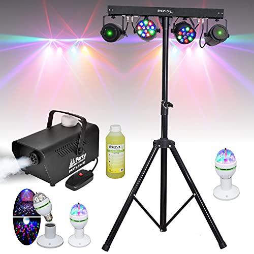 6 JEUX DE LUMIERE + PIED DJ + MACHINE A FUMEE + PRODUIT PACK SONO LIGHT DJ idéal soirée dansante bar club famille disco fête Nöel