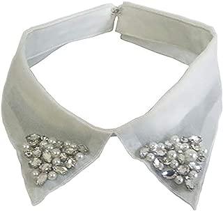 LANGUGU Detachable Blouse False Stand Collar Faux Pearls Rhinestones Organza Collar Choker Peter Pan Necklace