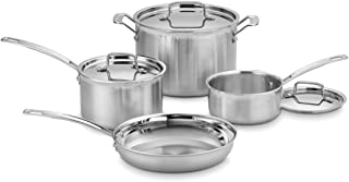 Cuisinart MCP-7N MultiClad Pro Stainless-Steel Cookware 7-Piece Cookware Set - Silver